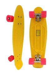 Скейт Longboard Penny 28 желтый с розовыми колесами